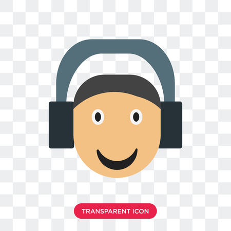 Listening smile vector icon isolated on transparent background, Listening smile logo concept