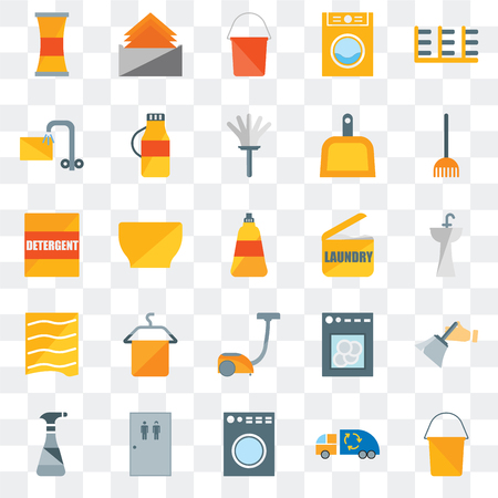 Set Of 25 transparent icons such as Bucket, Garbage truck, Washing machine, Toilet, Cleaning spray, Rake, Laundry, Vacuum, Drying, Soak, Tissue, web UI transparency icon pack