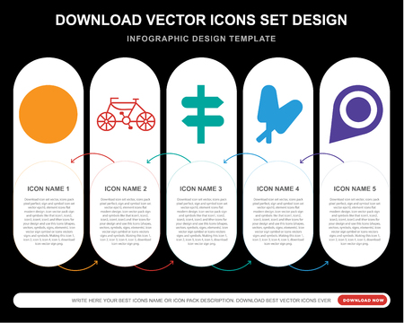 5 vector icons such as Hotel, Bike, Panels, Ice lolly, Pin for infographic, layout, annual report, pixel perfect icon