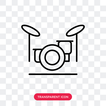 Drum set vector icon isolated on transparent background, Drum set logo concept