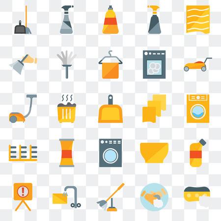 Ensemble de 25 icônes transparentes telles que éponge, savon à main, brosse de toilette, trempage, avertissement, tondeuse à gazon, chiffon, machine à laver, support, époussetage, spray de nettoyage de vaisselle, pack d'icônes de transparence de l'interface utilisateur Web