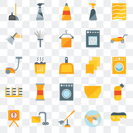 Set Of 25 transparent icons such as Sponge, Hand soap, Toilet brush, Soak, Warning, Lawn mower, Rag, Washing machine, Rack, Dusting, Dish Cleaning spray, web UI transparency icon pack