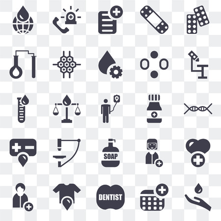 Set Of 25 transparent icons such as Blood, Dentist, Shirt, Doctor, Microscope, Alcohol, Soap, Test tubes, Prescription, Emergency, web UI transparency icon pack Vektorové ilustrace