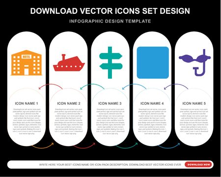 5 vector icons such as Hotel, Yatch, Panels, Camping, Mask for infographic, layout, annual report, pixel perfect icon