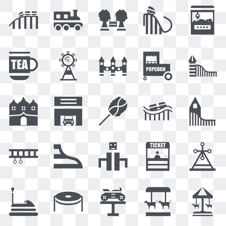 Set Of 25 transparent icons such as Merry go round, Bike, Trampoline, Bumper car, Slide, Roller coaster, Playground, Ride, Childhood, Train, web UI transparency icon pack