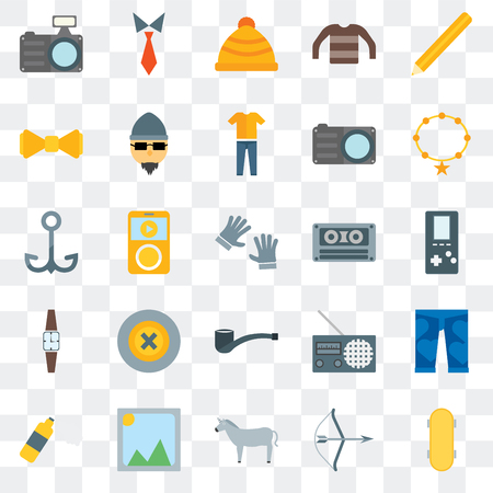 Set Of 25 transparent icons such as Skateboard, Archery, Horn, Picture, Foam, Accesory, Cassette, Wristwatch, Bow tie, Winter hat, Tie, web UI transparency icon pack