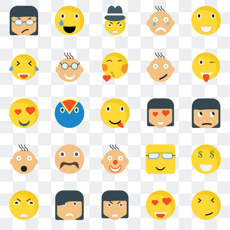 Set Of 25 transparent icons such as Faint smile, Sceptic Wink Relieved Angry Nerd In love web UI transparency icon pack, pixel perfect
