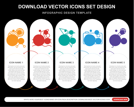 5 vector icons such as Crochet, Swimming, Origami, Photo camera, Singing for infographic, layout, annual report, pixel perfect icon
