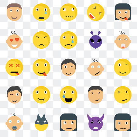 Set Of 25 transparent icons such as Sca smile, Winking Ti Sad Baby Angry Happy Dead web UI transparency icon pack, pixel perfect