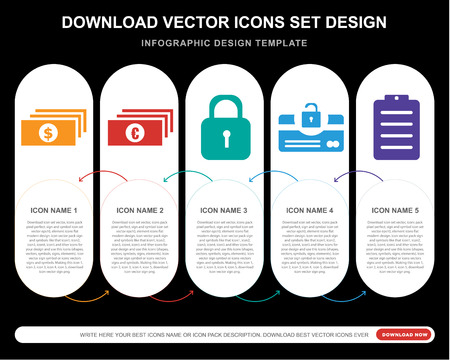 5 vector icons such as Dollar bills, Euro Locked padlock, Unlocked security of cit transaction, Clipboard for infographic, layout, annual report, pixel perfect icon Illusztráció