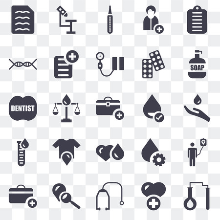 Set Of 25 transparent icons such as Test tubes, Health care, Stethoscope, Blood, First aid kit, Soap, Blood test, Dna, Thermometer, Microscope, web UI transparency icon pack
