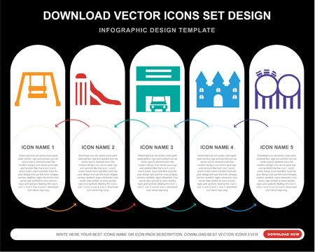 5 vector icons such as Hook, Slide, Childhood, Bouncy castle, Childhood for infographic, layout, annual report, pixel perfect icon