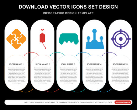 5 vector icons such as Jigsaw, Gamepad, Joystick, Aim for infographic, layout, annual report, pixel perfect icon Vectores
