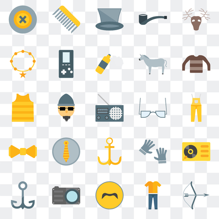 Set Of 25 transparent icons such as Archery, Clothing, Mustache, Photo camera, Navy, Long sleeves, Accessory, Anchor, Bow tie, Accesory, Comb, web UI transparency icon pack Illustration