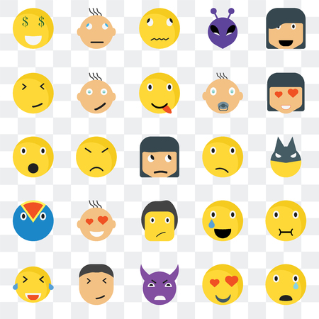 Set Of 25 transparent icons such as Sad smile, Superhero In love Confused Laughing Happy Relieved Shocked web UI transparency icon pack, pixel perfect