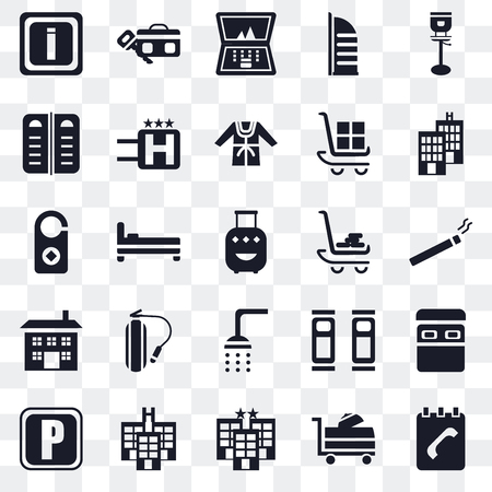 Set Of 25 transparent icons such as Agenda, Room service, Hotel, Parking, Luggage, Shower, Building, Menu, Laptop, web UI transparency icon pack