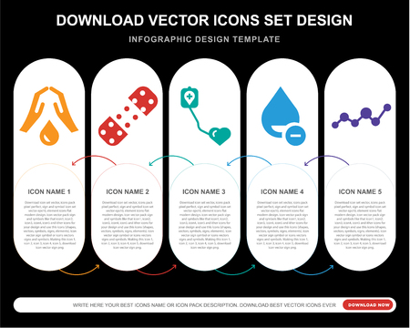 5 vector icons such as Blood, Plaster, Blood donation, for infographic, layout, annual report, pixel perfect icon