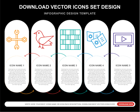 5 vector icons such as Wrench, Bird, Chess board, Comic, Tv for infographic, layout, annual report, pixel perfect icon