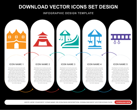 5 vector icons such as Haunted house, Tent, Amusement park, Merry go round, Ride for infographic, layout, annual report, pixel perfect icon