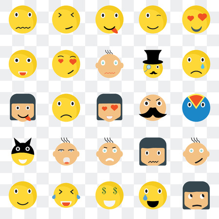 Set Of 25 transparent icons such as Sceptic smile, Superhero Sad Faint Smile In love Sca Happy web UI transparency icon pack, pixel perfect Vectores