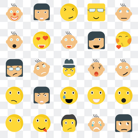 Set Of 25 transparent icons such as Sceptic smile, Happy Kiss Silent In love Laughing Angry web UI transparency icon pack, pixel perfect