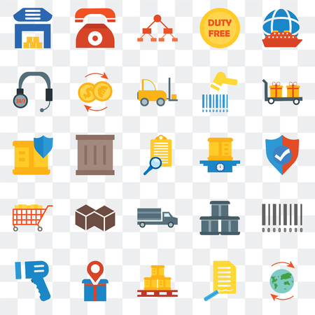 Set Of 25 transparent icons such as Worldwide, Shield, Delivery, Telephone, Barcode scanner, Exchange, Package, web UI transparency icon pack, pixel perfect