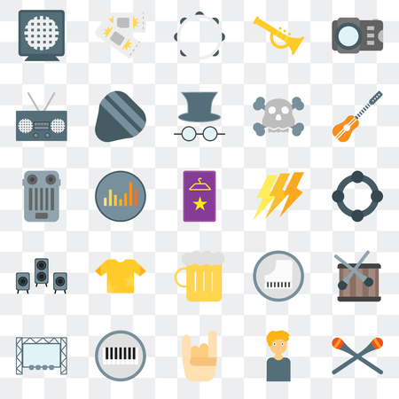 Set Of 25 transparent icons such as Drumsticks, Man, Maloik, Piano, Big screen, Guitar, Ray, Beer, Speaker, Radio, Tambourine, Ticket, web UI transparency icon pack