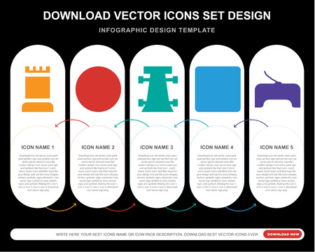 5 vector icons such as Tower, Square flag, Race car, Button, Gamepad for infographic, layout, annual report, pixel perfect icon