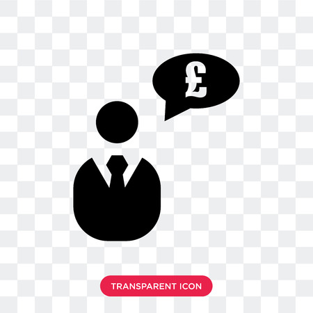 Businessman with pounds message in a speech bubble vector icon isolated on transparent background, Businessman with pounds message in a speech bubble logo concept