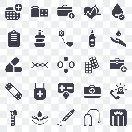 Set Of 25 transparent icons such as Weighing scale, Stethoscope, Dropper, Blood, Blood test, Drugs, Band aid, File, First aid kit, Bandage, web UI transparency icon pack Stock Illustratie