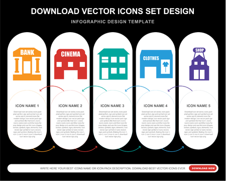 5 vector icons such as Bank, Cinema, House, Clothes, Shop for infographic, layout, annual report, pixel perfect icon