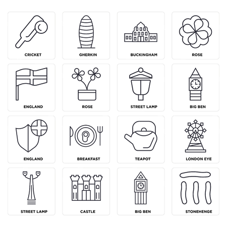 Set Of 16 icons such as Stonehenge, Big ben, Castle, Street lamp, London eye, Cricket, England, web UI editable icon pack, pixel perfect
