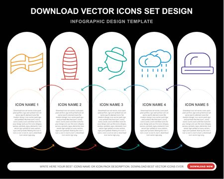 5 vector icons such as England, Gherkin,  Rainy, Bowler for infographic, layout, annual report, pixel perfect icon