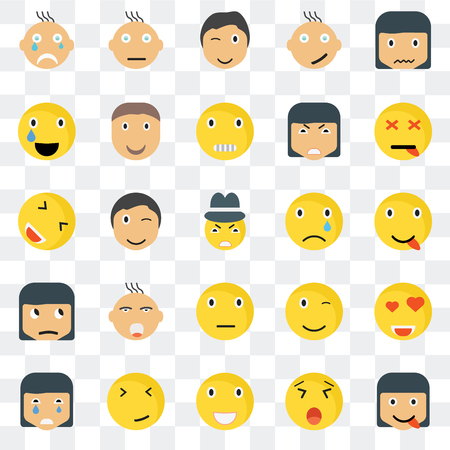 Set Of 25 transparent icons such as Happy smile, Dead Confused Crying Joyful Winking web UI transparency icon pack, pixel perfect 일러스트