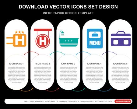 5 icone vettoriali come Hotel, Vasca da bagno, Menu, Valigia per infografica, layout, relazione annuale, icona pixel perfetta