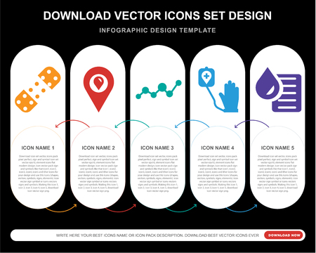 5 vector icons such as Plaster, Placeholder, Blood, Blood donation, test for infographic, layout, annual report, pixel perfect icon