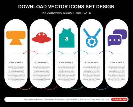 5 vector icons such as Webcam, Ufo, Basketball jersey, Medal, Chat for infographic, layout, annual report, pixel perfect icon Illustration