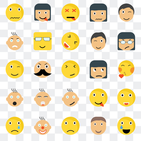 Set Of 25 transparent icons such as Relieved smile, Kiss Angry Happy Sad Nerd Winking web UI transparency icon pack, pixel perfect