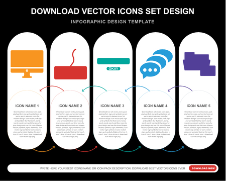 5 vector icons such as Monitor, Keyboard, Password, Speech bubble, Folder for infographic, layout, annual report, pixel perfect icon Illustration