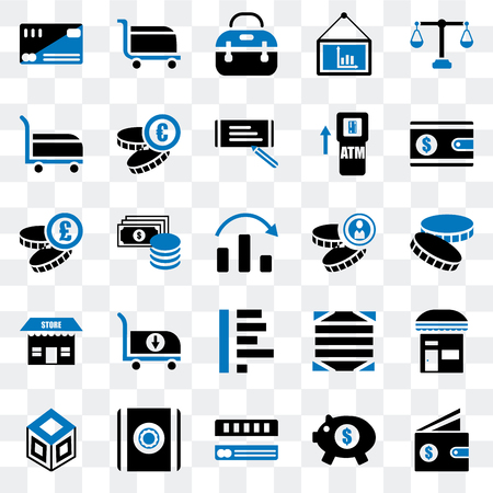 Set Of 25 transparent icons such as Wallet, Piggy bank, Cit card, Safebox, Crate, Coin, Graph, Store, Cart, Briefcase, web UI transparency icon pack