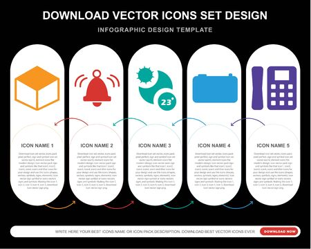 5 vector icons such as Box, Bell, Temperature, Camera,  infographic, layout, annual report, pixel perfect icon