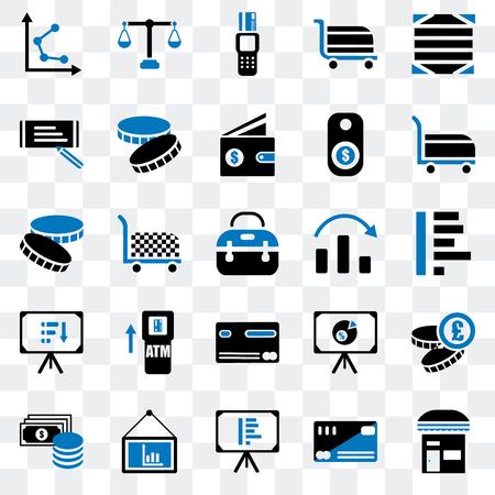 Set Of 25 transparent icons such as Store, Cit card, Presentation, Change, Cart, Graph, Check, Point of service, Justice scale, web UI transparency icon pack Illusztráció