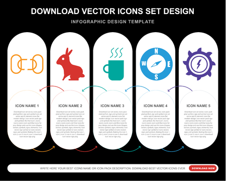 5 vector icons such as Disconnected chains, Sitting Rabbit, Warm black mug, Compass Pointing south East, Hydro power generation for infographic, layout, annual report, pixel perfect icon Ilustração