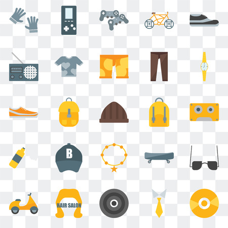 Set Of 25 transparent icons such as Vinyl, Tie, Hair salon,  Watch, Backpack, Accessory, Foam, Radio, Gamepad,  web UI transparency icon pack