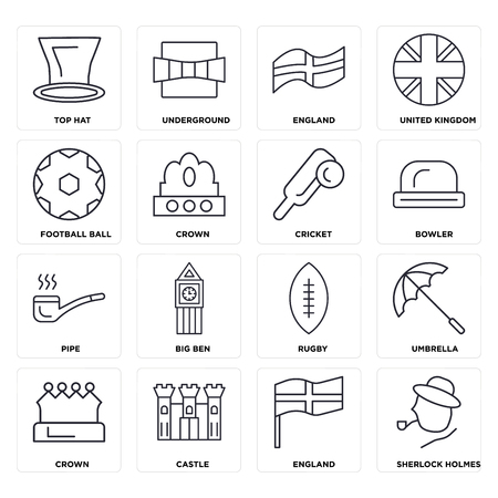 Set Of 16 icons such as England, Castle, Crown, Umbrella, Top hat, Football ball, Pipe, Cricket, web UI editable icon pack, pixel perfect Stock Illustratie