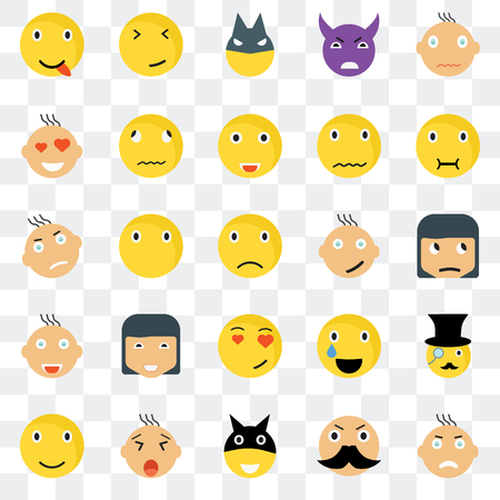 Set Of 25 transparent icons such as Angry smile, Sceptic Sick Faint Smile Relieved web UI transparency icon pack, pixel perfect