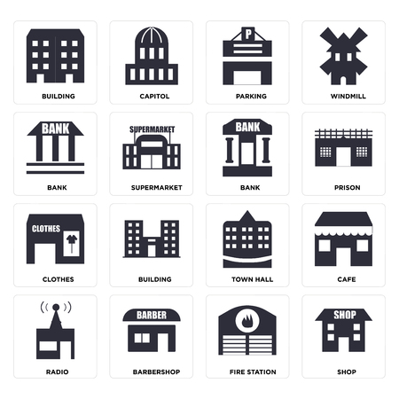 Set Of 16 icons such as Shop, Fire station, Barbershop, Radio, Cafe, Building, Bank, Clothes, web UI editable icon pack, pixel perfect