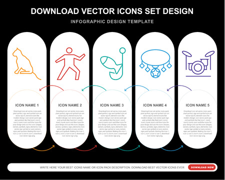 5 vector icons such as Cat, Yoga, Fishing, Necklace, Drum set for infographic, layout, annual report, pixel perfect icon 矢量图像
