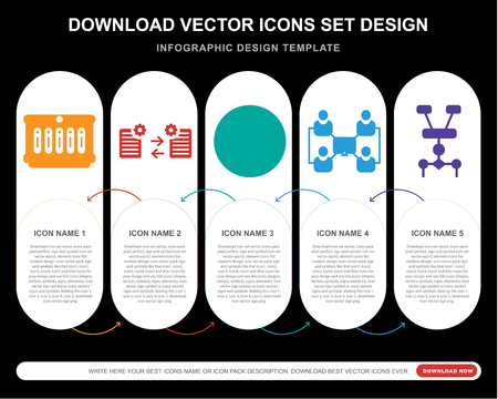 5 vector icons such as Server, Synchronization, Analytics, Network, Algorithm for infographic, layout, annual report, pixel perfect icon