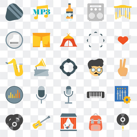 Set Of 25 transparent icons such as Vinyl, Backpack, Stage, Guitar, Wing, Bodyguard, Microphone, Equalizer, Piano, Whisky, Mp3, web UI transparency icon pack Иллюстрация